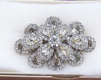 Vintage Hollywood Regency 3 Tiered Rhinestone Brooch circa late 1930's