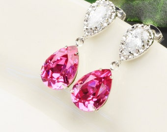 Bright Pink Earrings - Swarovski Crystal Teardrop Earrings Silver - Wedding Earrings - Cubic Zirconia Earrings - Bridesmaid Jewelry