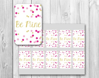 Valentine's Day gift tags, Be Mine gift tag, printable gift tags, instant download