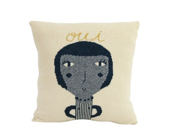 Knitted Portrait: Parisienne - Lambswool / Leather pillow