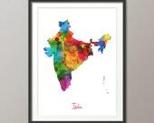 India Watercolor Map, Art Print (1408)