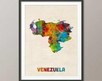 Venezuela Watercolor Map, Art Print (1327)