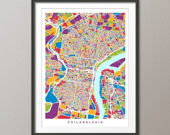 Philadelphia Map, Pennsylvania, Art Print (1340)