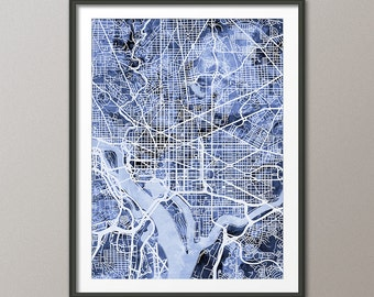 Washington DC Map, City Street Map Art Print (1567)