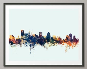 Baltimore Skyline, Baltimore Maryland Cityscape Art Print (1624)