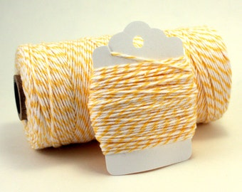 Yellow Bakers Twine - Easter Twine - Light Yellow Cotton String - Yellow and White Twine - Lemonade Twine - Lemon Divine Twine - 4-ply Twine