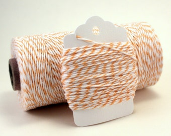Peach Twine - Easter Twine - Spring Bakers Twine - Apricot Twine - Light Orange Pastel Twine - Peach and White String - Peach Cotton String