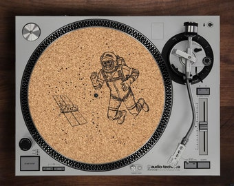 Turntable Slipmat - Lost In Space engraved Cork turntable slipmat with Reversible fabric Back for your record player