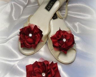 Burgundy Red Satin Hair Clip Matching 'Bonnie Wee' Shoe Clips, Hair Clip Shoe Clip 3 Piece Set