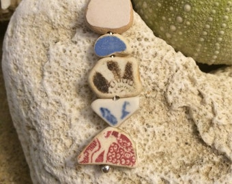 Sea glass jewelry- sea glass pottery fish