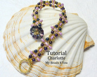 PDF Beading Tutorial,Superduo Bracelet Pattern, Beadweaving Tutorial, Seed Bead Tutorial,Jewelry Making Beading Pattern,Beading Instructions