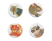Animal Button or Magnet Set by Lisa Vanin