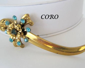 Coro Sword Pin Aqua Rhinestone Brooch