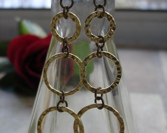 "CLEARANCE, Gold Hammered Link ""Trinity"" Earrings, Graduated Earrings, Hippie Jewelry, Boho Jewelry, Karma Jewelry, Dangle Earrings, SALE"