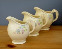 Three Graduated Water Pitchers Jugs by New Hall Pottery England Vintage 1950s Home Decor