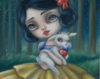 Snow White LIMITED EDITION print signed numbered Simona Candini lowbrow pop surrealism big eyes art