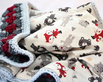 Moose and friends crochet baby blanket, crib bedding, granny square reversible crochet baby blanket