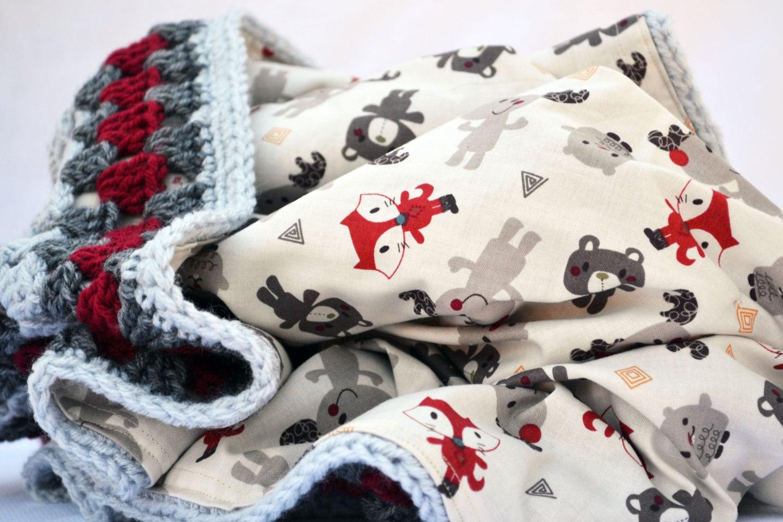Moose Baby Blanket Crochet Rustic Baby Blanket Rustic