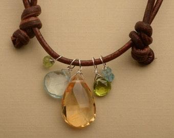 Citrine Necklace, Citrine Pendant Necklace, November Birthstone, Healing Gemstone Necklace, December Birthstone Necklace
