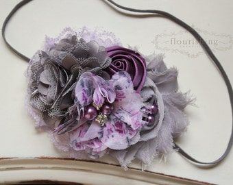 Lavender and Grey headband, purple flower headbands, grey headbands, baby headbands, newborn headbands, photography prop