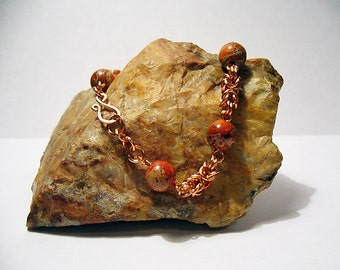 Drops of Jupiter - Copper and Orange Imperial Jasper Chainmaille Bracelet