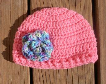 Pink Flower Beanie, Pretty Baby Hat, Etsy Girl Hats, Newborn Baby Cap, Infant Crochet Hat, Crochet Baby Stuff, Childrens Hat, Infant Item