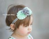 Mint & Silver Glitter - Gray Mint Green - Posh Baby Headband - Newborn Infant Toddler Girls Adult Wedding