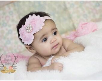 Pink Baby Headband with Rose Gold Pearl Rhinestone -  Vintage Shabby - Newborn Infant Baby Toddler Girls Adult Wedding Flower Girl