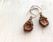 Bronze Leaf Earrings, Wire Wrapped Leaf Glass Earrings, Dangle Earrings, Brown Copper Leaf