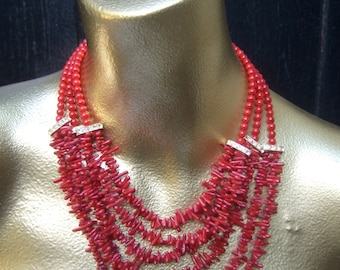 Exotic Glass Coral Style Statement Necklace