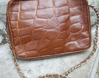 Italian Brown Embossed Leather Shoulder Bag c 1980s