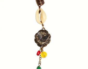 Dreadlock Jewelry - Antique Brass Butterfly Rasta Loc Jewel