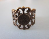 Filigree Adjustable Brass Ox Ring Base with 8mm Gluing Pad Adjustable Bronze ring blanks Anyique Gold Ring Blanks Lot of 10 by BySupply