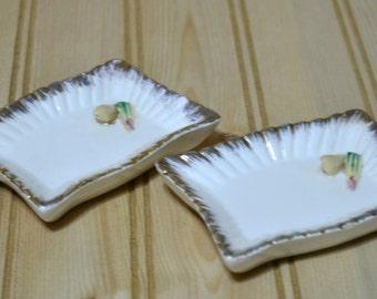 Vintage Mini Sushi Ceramic Trays Dish  Gold Trim Made in Japan