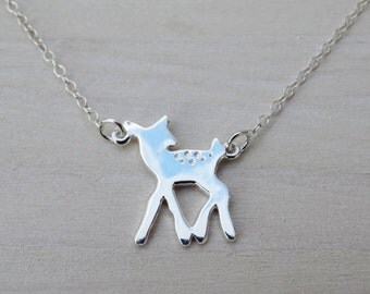 Silver Fawn Necklace - Sterling Silver Deer Necklace