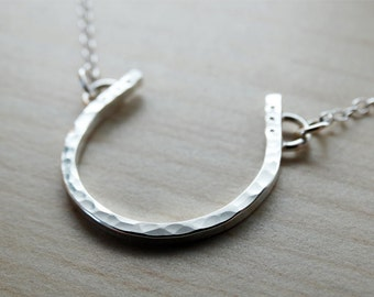 Silver Horseshoe Necklace - Good Luck Charm - Sterling Silver