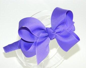 Pansy Purple Bow Headband