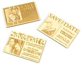 Sample Wedding Save the Date with Engraved Photo on Solid Wood