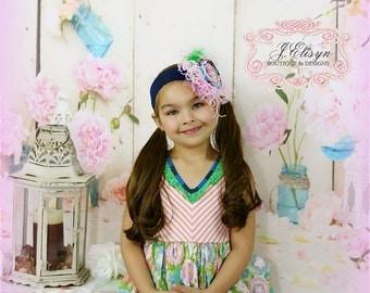 pink, blue, green couture headband- mtm boutique Matilda Jane dress