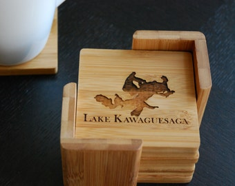 "Personalized Coaster Set 6 Custom Engraved Bamboo Coasters ""Lake Place"" Unique Wedding Gift, Housewarming Gift"