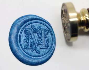 "S1155 Alphabet Letter "" M "" Wax Seal Stamp , Sealing wax stamp, wax stamp, sealing stamp Flower Sytle"