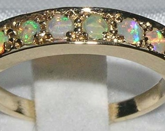 English 14K Yellow Gold Natural Colourful Opal Classic 7 Stone Half Eternity Ring, Anniversary Ring - October birthstone -Customizable