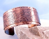 copper cuff etched butterflies flowers