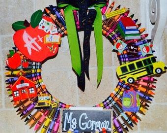 Crayon Wreath Teacher Wreath Teacher Gift Classroom decoration Wall Wreath Children's Room
