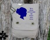 Jane Austin Quote Canvas Messeneger Bag - Laptop Bag - iPad Bag - Diaper Bag - School Bag