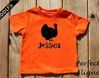 Personalized Thanksgiving Turkey  Unisex Infant and Toddler T-shirt - Baby Boys or Girls