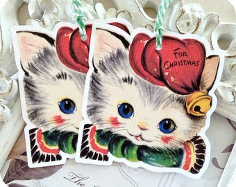 Vintage Christmas Cat Tags - Set of 6