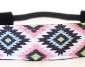 Running Headband - Pink Aztec | No slip headband | Workout Headband | Sports Headband | Fitness Headband | FREE SHIPPING Offer