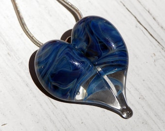Blue Glass Heart, Flamework Necklace, Lampwork Focal Bead Hand Blown Boro Twisted Blue