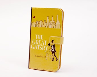 Book phone /iPhone flip Wallet case-The Great Gatsby for  iPhone X, 8, 7, 6, 5, 6 7 & 8 plus, Samsung Galaxy S8 S7 S6, S5 Note 4, 5, 7, 8 LG